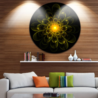 Designart Ideal Fractal Flower Digital Art in Yellow Floral Metal Circle Wall Art