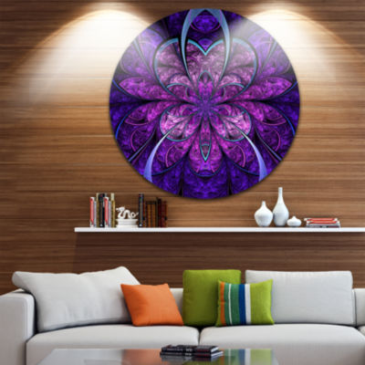 Designart Blue and Purple Large Fractal Flower Floral Metal Circle Wall Art