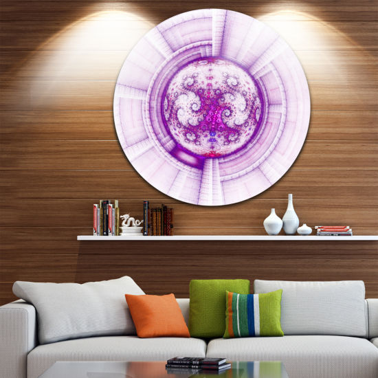 Designart Glowing Bright Purple Fractal Flower Abstract Metal Circle Wall Art
