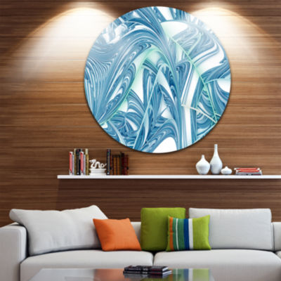 Designart Unique Blue Fractal Design Pattern Oversized Abstract Metal Art