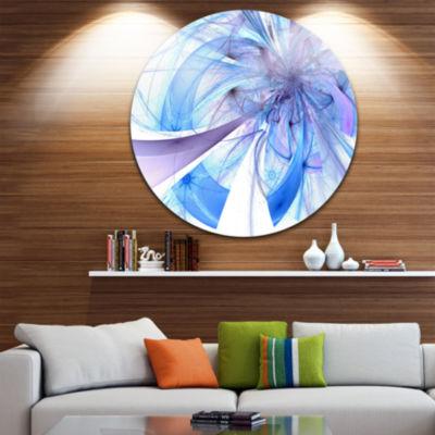 Designart Blue Large Fractal Flower Pattern FloralMetal Circle Wall Art