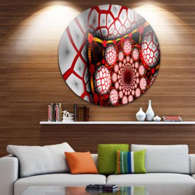 Designart Unique Light Red Fractal Design PatternOversized Abstract Metal Art