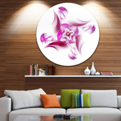 Designart Rotation of Small Universe Purple FlowerFloral Metal Circle Wall Art