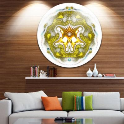Designart Large Golden Symmetrical Fractal HeartAbstract Metal Circle Wall Art