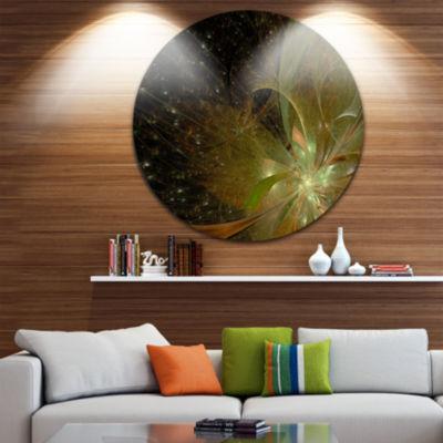 Designart Light Golden Symmetrical Fractal FlowerFloral Metal Circle Wall Art