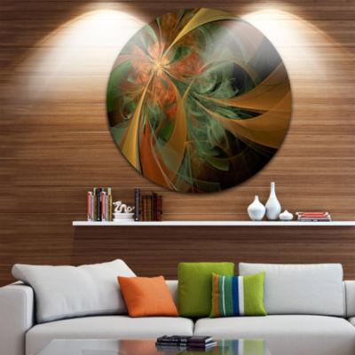Designart Symmetrical Orange Digital Fractal Flower Floral Metal Circle Wall Art