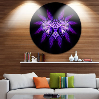 Designart Bright Purple in Black Fractal Flower Large Abstract Metal Artwork