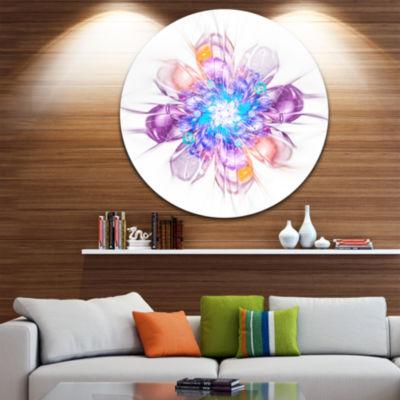 Designart Perfect Fractal Flower in Multi ColorsFloral Metal Circle Wall Art
