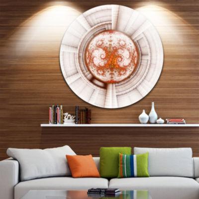 Designart Rounded Brown Fractal Flower Large Abstract Metal Artwork