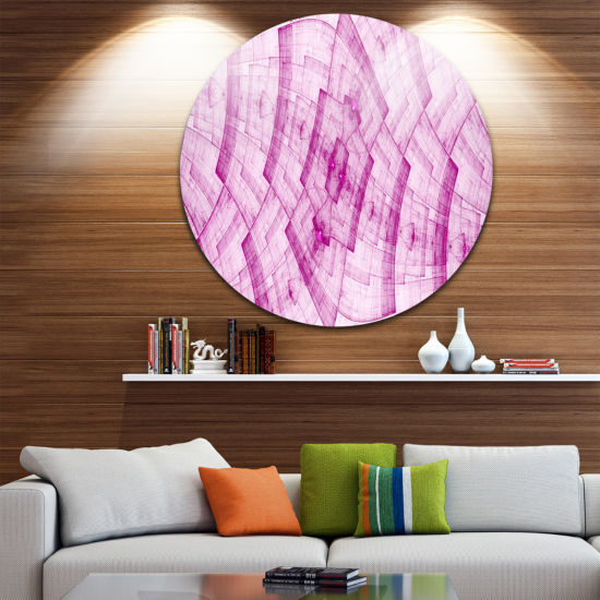 Designart Dark Pink Psychedelic Fractal Metal GridAbstract Metal Circle Wall Art