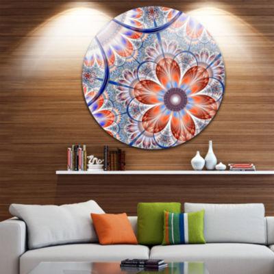 Designart Brown and Blue Large Fractal Flower Floral Metal Circle Wall Art