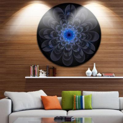 Designart Perfect Digital Flower Art in Dark Purple Floral Metal Circle Wall Art