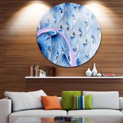 Designart Light Blue Fractal Abstract Flower Oversized Abstract Metal Art