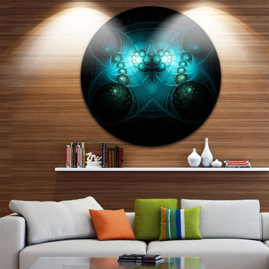 Designart Bright Blue in Black Fractal Flower Large Abstract Metal Artwork