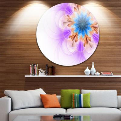 Designart Blue and Purple Symmetrical Fractal Flower Floral Metal Circle Wall Art