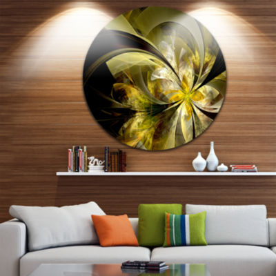 Designart Bright Golden Fractal Flower Design Floral Metal Circle Wall Art