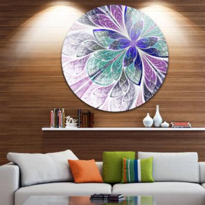 Design Art Blue and Purple Fractal Flower Design Floral Metal Circle Wall Art