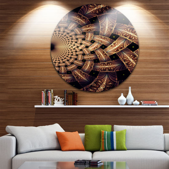 Designart Dark Brown Fractal Flower Pattern FloralMetal Circle Wall Art