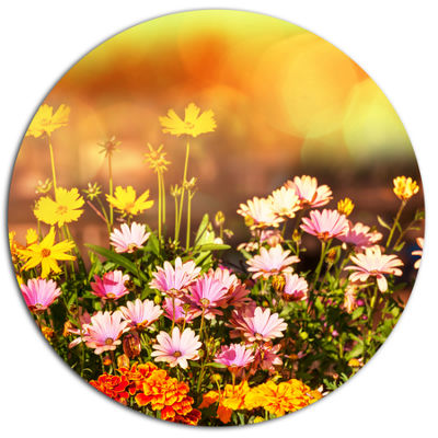 Designart Beautiful Multi Color Flowers Floral Metal Circle Wall Art