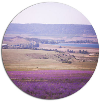 Designart Calm Sunset over Lavender Field Floral Metal Circle Wall Art
