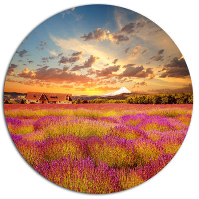 Designart Majestic Lavender Field At Sunset FloralMetal Circle Wall Art