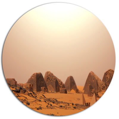 Designart Beautiful Meroe Pyramids in Sudan ExtraLarge Landscape Metal Circle Wall Art