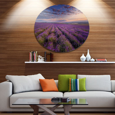Designart Dark Lavender Field with Cloudy Sky Floral Metal Circle Wall Art