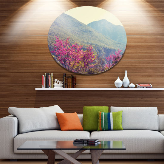 Designart Pink Blossoming Flowers in Mountains Floral Metal Circle Wall Art