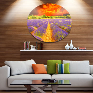 Designart Beautiful Lavender Field and Sunset Floral Metal Circle Wall Art