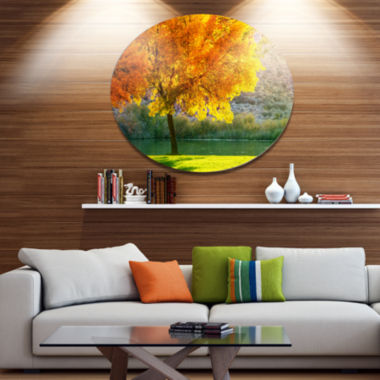 Designart Beautiful Autumn Season in Forest ExtraLarge Landscape Metal Circle Wall Art