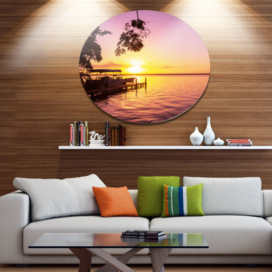 Designart Tropical Beach with Fantastic Sunset Extra Large Landscape Metal Circle Wall Art