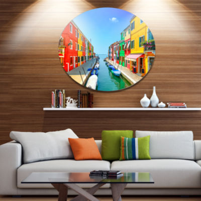 Designart Colorful Burano Island Canal Venice Extra Large Landscape Metal Circle Wall Art