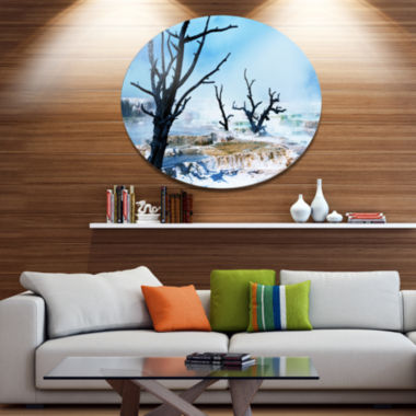 Designart Beautiful Land with Large Dry Trees Extra Large Landscape Metal Circle Wall Art