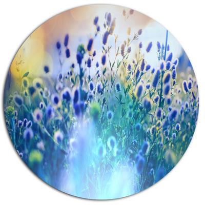 Designart Blue Summer Flowers on Meadow Floral Metal Circle Wall Art