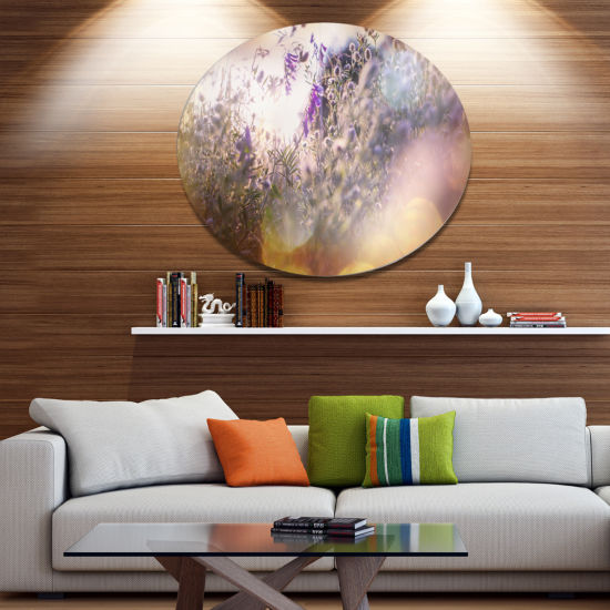 Designart Summer Pasture with Purple Flowers ExtraLarge Landscape Metal Circle Wall Art