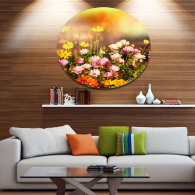Designart Beautiful Multi Color Flowers Floral Metal Circle Wall Art