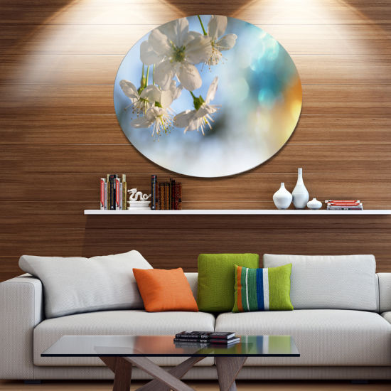 Designart White Blossoming Cherry Tree Floral Metal Circle Wall Art