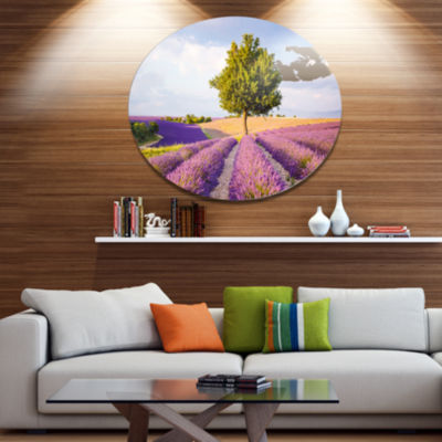 Designart Lonely Green Tree in Lavender Field Extra Large Landscape Metal Circle Wall Art