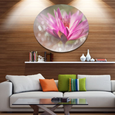 Designart Pink Lotus on Abstract Background FloralMetal Circle Wall Art