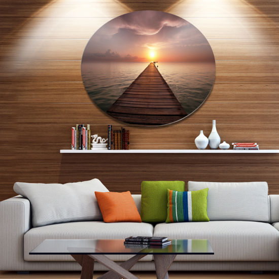 Designart Seashore Boardwalk into the Sun SeashoreMetal Circle Wall Art