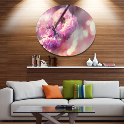 Designart Beautiful Almond Tree Flowers Floral Metal Circle Wall Art