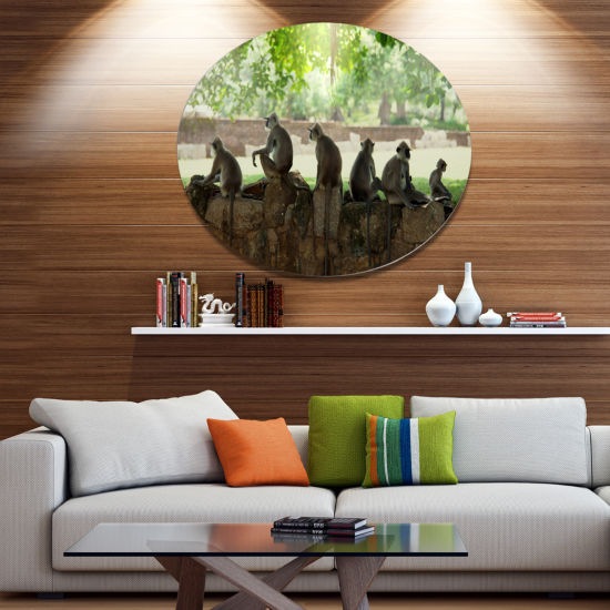 Designart Troop of Monkeys in Sri Lanka African Landscape Metal Circle Wall Art