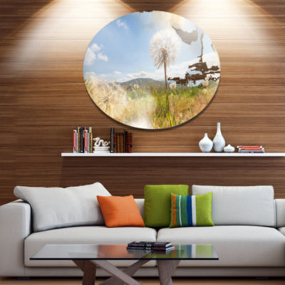 Designart Blooming Dandelion under Bright Sky Floral Metal Circle Wall Art