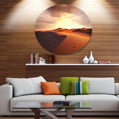 Designart Brown Desert Dunes At Sunrise African Landscape Metal Circle Wall Art