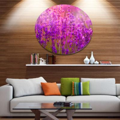 Designart Bright Purple Lavender Field Tihany Floral Metal Circle Wall Art