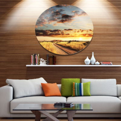 Designart Cloudy African Prairie with Pathway Extra Large Landscape Metal Circle Wall Art