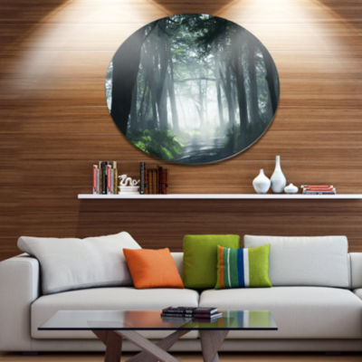 Designart Dense Rain Forest At Sunrise Extra LargeLandscape Metal Circle Wall Art