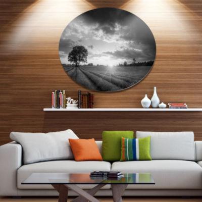 Designart Vibrant Black White Lavender Field ExtraLarge Landscape Metal Circle Wall Art
