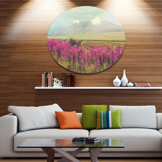 Designart Purple Flowers and Distant Mountains Floral Metal Circle Wall Art