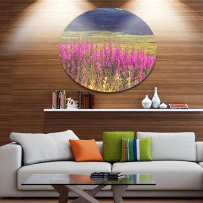 Designart Purple Flowers in Mountain Pasture Floral Metal Circle Wall Art